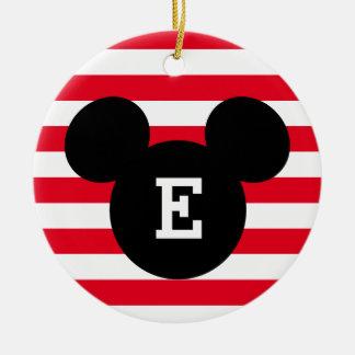 Mickey Head Silhouette Striped Pattern   Monogram Ceramic Ornament