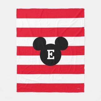 Mickey Head Silhouette Striped Pattern | Monogram Fleece Blanket