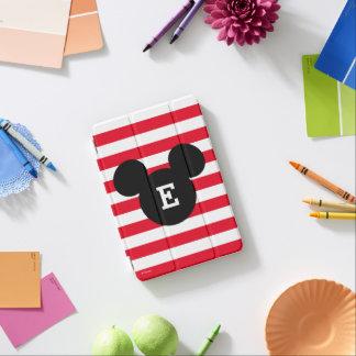 Mickey Head Silhouette Striped Pattern | Monogram iPad Mini Cover