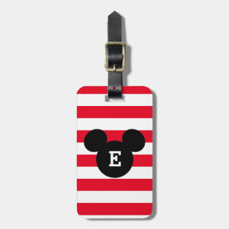 Mickey Head Silhouette Striped Pattern | Monogram Luggage Tag