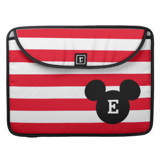 Mickey Head Silhouette Striped Pattern | Monogram MacBook Pro Sleeve