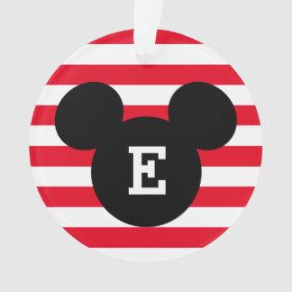 Mickey Head Silhouette Striped Pattern   Monogram Ornament