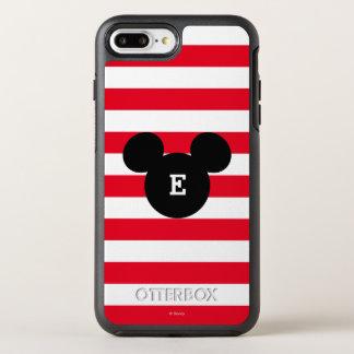 Mickey Head Silhouette Striped Pattern   Monogram OtterBox Symmetry iPhone 7 Plus Case