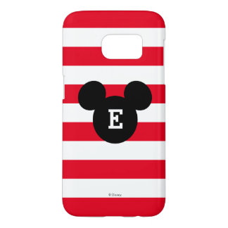 Mickey Head Silhouette Striped Pattern | Monogram Samsung Galaxy S7 Case