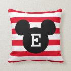 Mickey Head Silhouette Striped Pattern | Monogram Throw Pillow