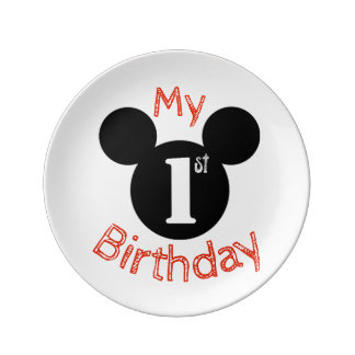 Mickey inspired my first birthday plate, cake plate