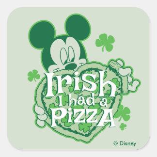Mickey | Irish I had a Pizza Square Sticker