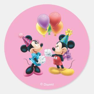 Mickey & Minnie | Birthday Round Sticker