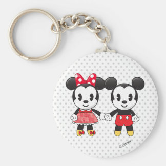 Mickey & Minnie Holding Hands Emoji Basic Round Button Keychain
