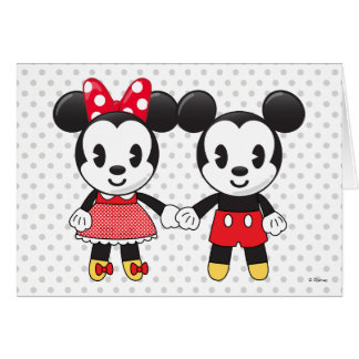 Mickey & Minnie Holding Hands Emoji Card