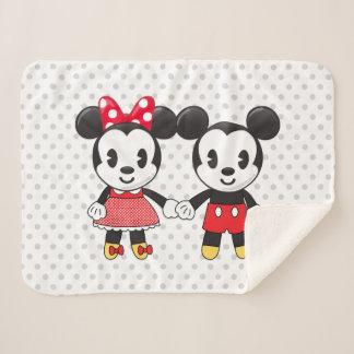 Mickey & Minnie Holding Hands Emoji Sherpa Blanket