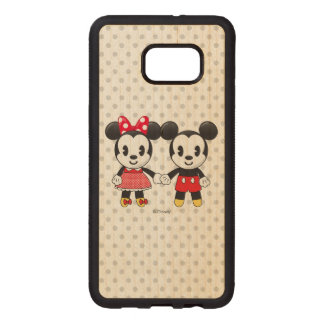 Mickey & Minnie Holding Hands Emoji Wood Samsung Galaxy S6 Edge Case