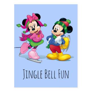Mickey & Minnie Ice Skating Postcard