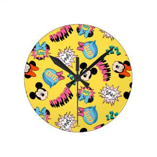 Mickey & Minnie   Super Hero Pop Pattern Round Clock