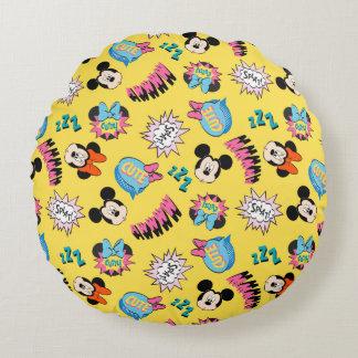Mickey & Minnie | Super Hero Pop Pattern Round Pillow