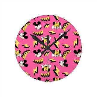 Mickey & Minnie   Super Hero Power Pattern Round Clock