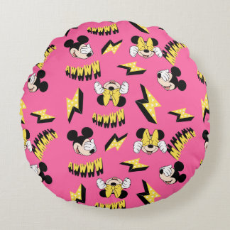 Mickey & Minnie | Super Hero Power Pattern Round Pillow
