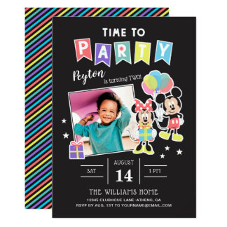 Mickey & Minnie | Time to Party - Photo Card