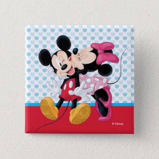 Mickey & Minnie | Valentine's Day Smooch 2 Inch Square Button