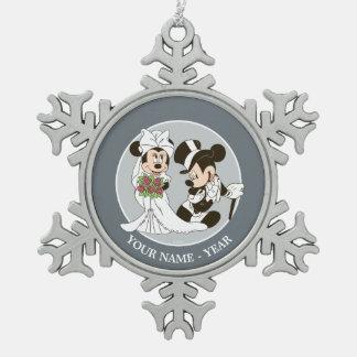 Mickey & Minnie Wedding | Getting Married Snowflake Pewter Christmas Ornament
