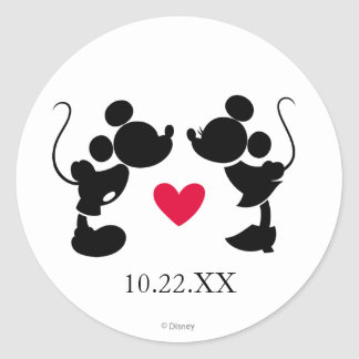 Mickey & Minnie Wedding | Silhouette Round Sticker
