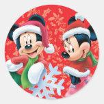 Mickey & Minnie With Snowflake Stickers