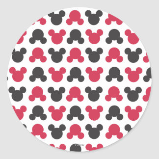 Mickey Mouse | Black and Red Pattern Round Sticker