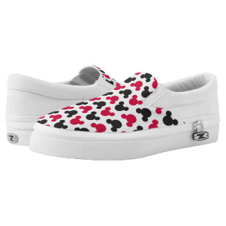 Mickey Mouse | Black and Red Pattern Slip-On Sneakers
