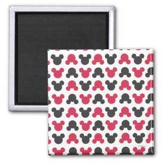 Mickey Mouse | Black and Red Pattern Square Magnet