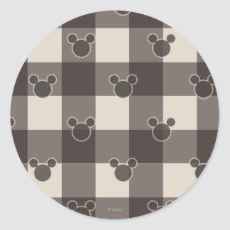 Mickey Mouse | Brown Plaid Pattern Round Sticker
