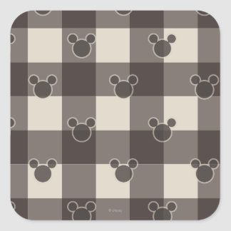 Mickey Mouse | Brown Plaid Pattern Square Sticker