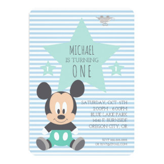 "Mickey Mouse | First Birthday 5"" X 7"" Invitation Card"