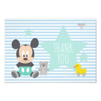"Mickey Mouse | First Birthday Thank You 3.5"" X 5"" Invitation Card"