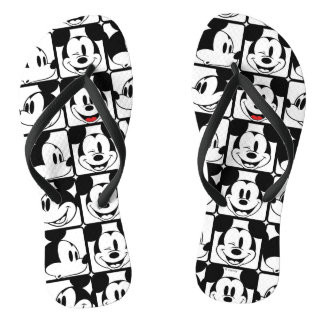 Mickey Mouse | Grid Pattern Flip Flops