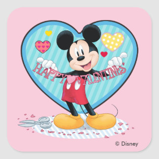 Mickey Mouse | Happy Valentines Day Cutout Square Sticker