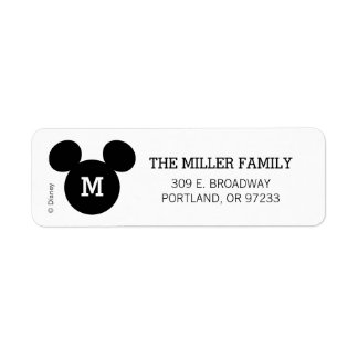 Mickey Mouse Head Silhouette | Black with Monogram Return Address Label