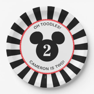 Mickey Mouse | Icon Black & White Stripe Birthday Paper Plate