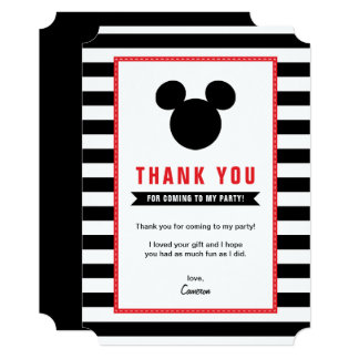 Mickey Mouse | Icon Black & White Stripe Thank You Card