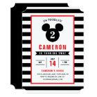 Mickey Mouse | Icon Black & White Striped Birthday Card