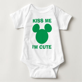 Mickey Mouse Kiss Me I'm Cute | St. Patrick's Day Baby Bodysuit