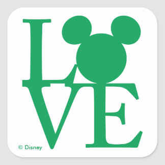 Mickey Mouse LOVE | St. Patrick's Day Square Sticker