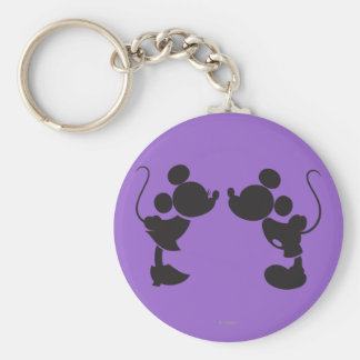 Mickey Mouse & Minnie  Silhouette Basic Round Button Keychain