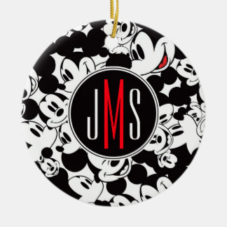 Mickey Mouse | Monogram Crowd Pattern Ceramic Ornament