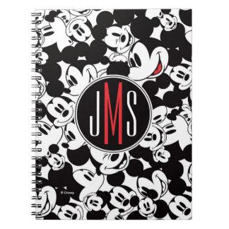 Mickey Mouse | Monogram Crowd Pattern Notebooks