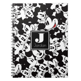 Mickey Mouse | Monogram Crowd Pattern Spiral Note Book
