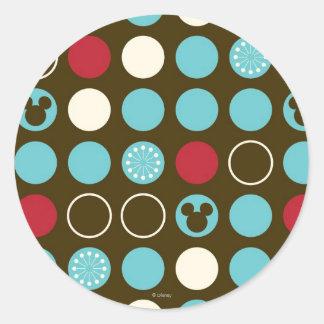 Mickey Mouse | Retro Polka Dot Pattern Round Sticker