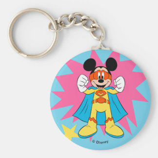 Mickey Mouse | Super Hero Cute Basic Round Button Keychain