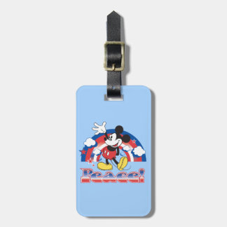 Mickey Mouse With Patriotic Peace Rainbow Bag Tag