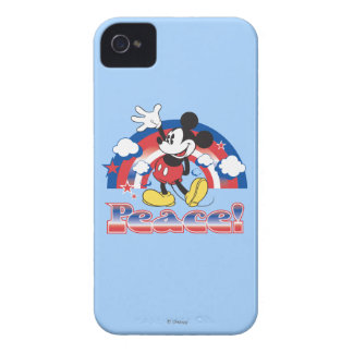 Mickey Mouse With Patriotic Peace Rainbow Case-Mate iPhone 4 Case