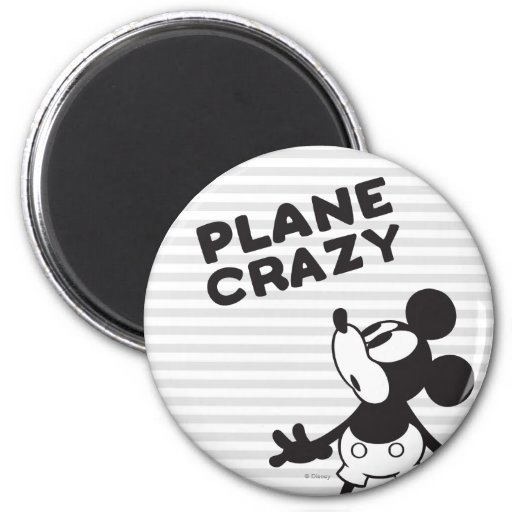 Mickey Plane Crazy 2 2 Inch Round Magnet